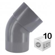 Lot de 10 raccords PVC - Coude 45° MF Ø32 - Ø40 - Ø50 - Ø100 FIRST-PLAST