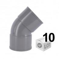 Lot de 10 raccords PVC - Coude à 45° FF Ø32 - Ø40 - Ø50- Ø100 - FIRST-PLAST