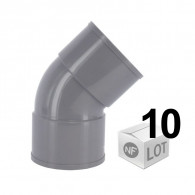 Lot de 10 raccords PVC - Coude à 45° FF Ø32 ou Ø40 ou Ø50 ou Ø100 - FIRST-PLAST