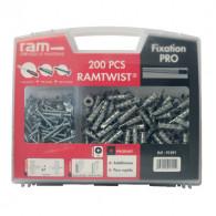 Mallette 200 chevilles RAMTWIST Métal avec vis et 1 tournevis