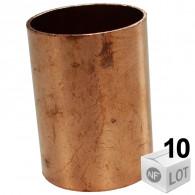 Lot de 10 manchons cuivre NF à souder pour tube cuivre du Ø12mm au Ø28mm