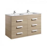 Meuble Unik DEBBA 1200 6 tiroirs et lavabo double
