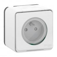 Mureva Styl - Prise courant 2P+T - saillie - IP55 - IK08 - connexion auto - blanc