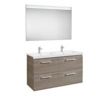 Pack Unik PRISMA 1200 - Meuble 4 tiroirs, lavabo double et miroir à LED