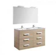 Pack Unik DEBBA 1200 6 tiroirs, lavabo double, miroir et applique LED