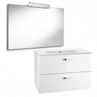 Pack Unik VICTORIA blanc Meuble 800x450mm Miroir Applique 2 LED