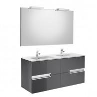 Pack Unik VICTORIA-N 1200 4 tiroirs, lavabo double, miroir et appliques
