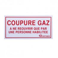 """Plaque signalétique """"Coupure gaz - à ne pas réouvrir"""" - 200x100 mm"""