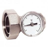Té porte thermomètre chrome Mâle 26x34 - Ecrou Femelle 33x42
