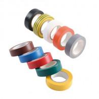Adhésif PVC électricien - 10 couleurs panachées - Long. 15ml x Larg. 10mm