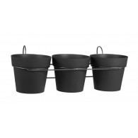 Lot de 3 pots TOSCANE avec support - Gris anthracite