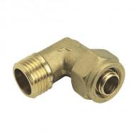 Raccord à compression tube PER Ø12 ou Ø16 ou Ø20 ou Ø25 - Coude mâle - Somatherm