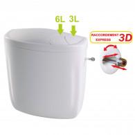 Réservoir wc double débit 3/6L NF alimentation en eau gauche ou droite