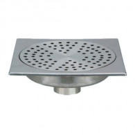 Siphon de sol inox Solusec 200x200 mm - sortie verticale Ø50