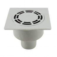 Siphon de sol laiton chromé Solusec 120x120 mm - sortie verticale