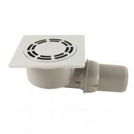 Siphon de sol laiton chromé Solusec 120x120 mm - sortie horizontale