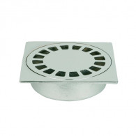 Siphon de sol laiton Solusec 100x100 mm - sortie verticale Ø40