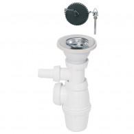 Siphon réglable et bonde évier Ø60 mm à bouchon pour évier 1 bac - Wirquin Pro 30720454