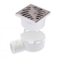 Siphonnette avec grille inox 100x100 avec adaptateur sortie horizontale