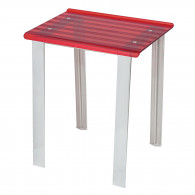 Tabouret de douche LEO rouge transparent