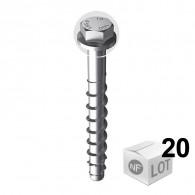 Lot de 20 Vis béton ULTRACUT FBS II Ø10 - Tête hexagonale - en 3 Longueurs
