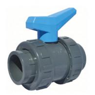 Vanne à sphère PVC-U PN16 pour piscine - à coller - Manette bleue