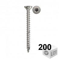 200 Vis bois acier inox Power-Fast TX10 Ø4x20mm ou Ø4x30mm