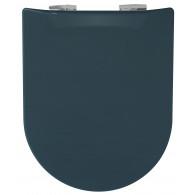 Abattant WC Wood Slim Bleu astral Mat - descente assistée - déclipsable