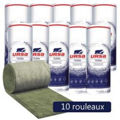 10 rouleaux laine de verre URSACOUSTIC TERRA nu 900mm - Ep. 45mm - 145,80m² - R 1.10