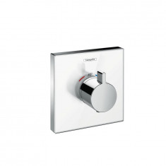 Set de finition en verre pour mitigeur thermostatique ShowerSelect E encastré haut débit blanc chrome Hansgrohe