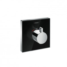 Set de finition en verre pour mitigeur thermostatique ShowerSelect E encastré haut débit noir chrome Hansgrohe