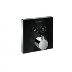 Set de finition en verre pour mitigeur thermostatique ShowerSelect E encastré avec 2 fonctions Hansgrohe Noir/Chrome
