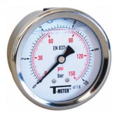 """Manomètre boitier inox à bain de glycérine RADIAL Mâle 1/4"""" (8/13) - Pression 0 / 2,5 bars - Sferaco"""