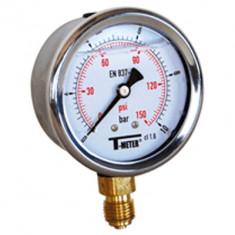 "Manomètre boitier inox à bain de glycérine RADIAL Mâle 1/4"" (8/13) - Pression 0 / 160 bars - Ø63 - Sferaco"