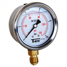 "Manomètre boitier inox à bain de glycérine RADIAL Mâle 1/4"" (8/13) - Pression 0 / 250 bars - Ø63 - Sferaco"