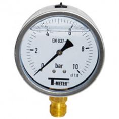 "Manomètre boitier inox à bain de glycérine RADIAL Mâle 1/2"" (15/21) - Ø100 - Pression 0 / 400 bars - Sferaco"