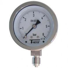 "Manomètre TOUT Inox à cadran sec RADIAL Mâle 1/4"" (8/13) - Ø63 - Pression 0 / 1,6 bars - Sferaco"
