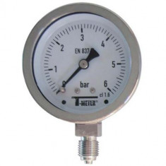 "Manomètre TOUT Inox à cadran sec RADIAL Mâle 1/4"" (8/13) - Ø63 - Pression 0 / 6 bars - Sferaco"