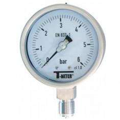 "Manomètre TOUT Inox à cadran sec RADIAL Mâle 1/2"" (15/21) - Ø100 - Pression 0 / 1.6 bars - Sferaco"
