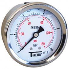 "Manomètre boitier inox à bain de glycérine AXIAL Mâle 1/4"" (8/13) - Ø63 - Pression 0 / 100 bars - Sferaco"