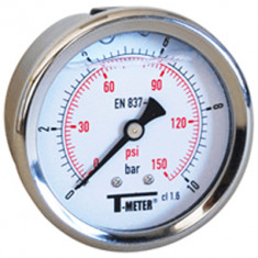 "Manomètre boitier inox à bain de glycérine AXIAL Mâle 1/4"" (8/13) - Ø63 - Pression 0 / 160 bars - Sferaco"
