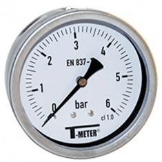 "Manomètre boitier inox à bain de glycérine AXIAL Mâle 1/2"" (15/21) - Ø100 - Pression 0 / 6 bars - Sferaco"