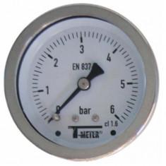 """Manomètre TOUT Inox à cadran sec AXIAL Mâle 1/4"""" (8/13) - Ø63 - Pression 0 / 1.6 bars - Sferaco"""