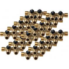 """Lot de 20 Collecteurs mini-vanne M/F 3/4"""" (20/27) - 1/2"""" (15/21) - 2 piquages M 1/2"""" (15/21)"""