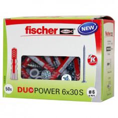 50 Chevilles bi-matière DUOPOWER Ø6 x 30 S avec vis + 50 vis 4,5x45mm - Fischer