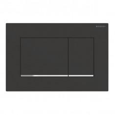 Plaque de déclenchement noir mat laqué, chromé brillant Sigma30 pour rinçage double touche - Geberit
