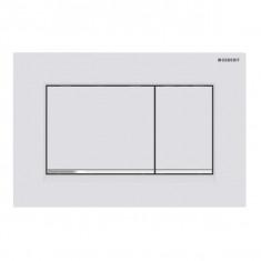 Plaque de déclenchement blanc mat laqué, chromé brillant Sigma30 pour rinçage double touche - Geberit