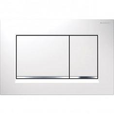 Plaque de déclenchement blanc, chromé brillant Sigma30 pour rinçage double touche - Geberit