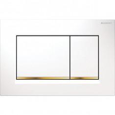 Plaque de déclenchement blanc, doré Sigma30 pour rinçage double touche - Geberit