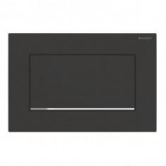 Plaque de déclenchement noir mat laqué, chromé brillant Sigma30 pour rinçage interrompable, à visser - Geberit
